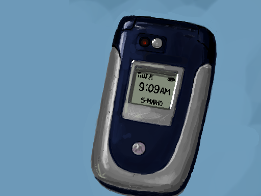 Still life drawing of an old clamshell cellphone by Danny Poloskei
