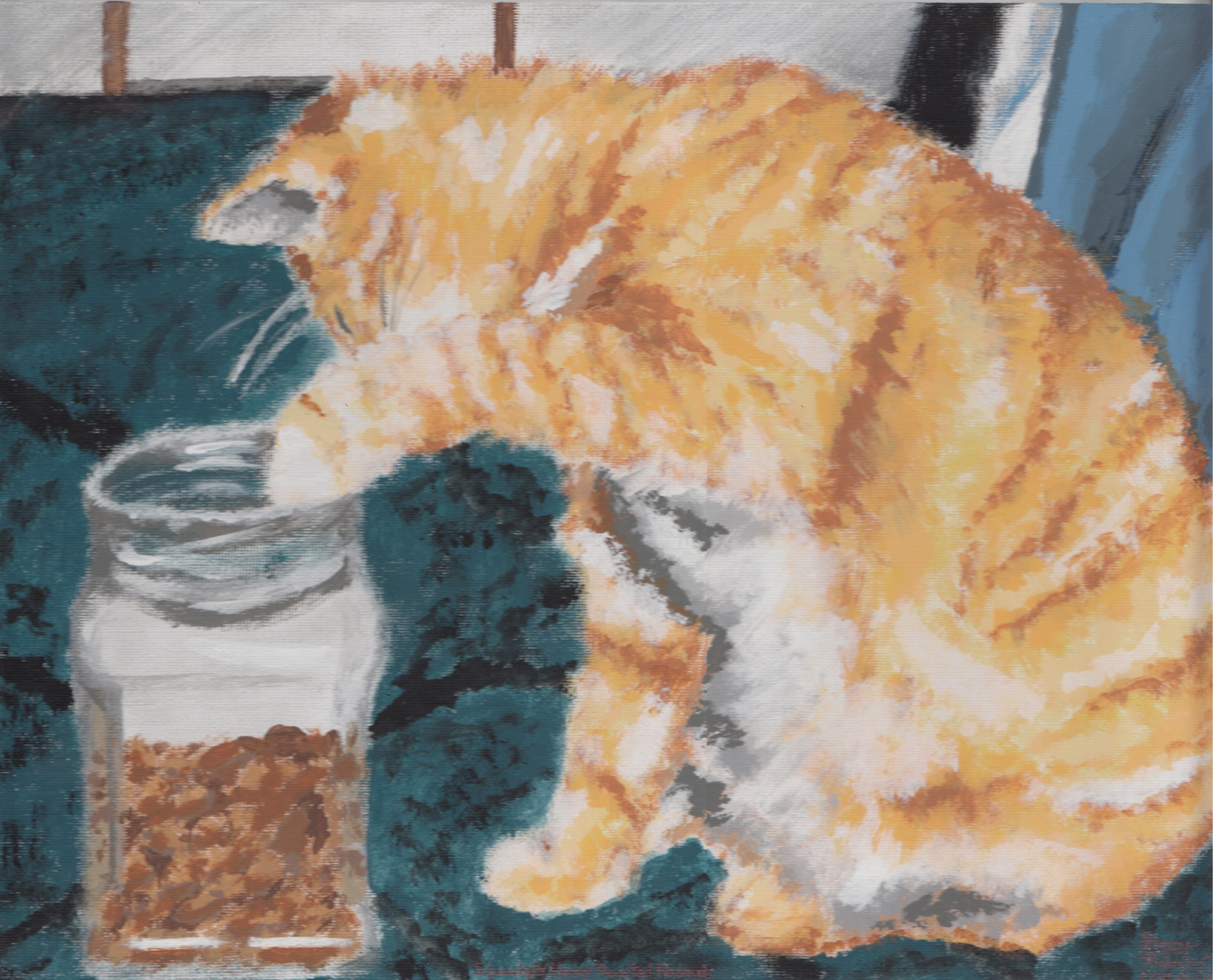 A painting of an orange cat digging into a jar of honey roasted peanuts by Danny Poloskei