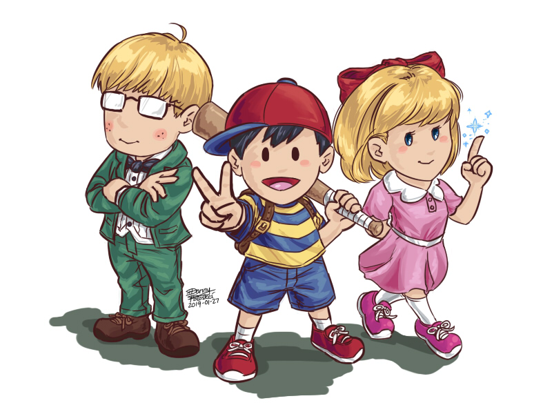 Earthbound Ness, Jeff, and Paula by Danny Poloskei