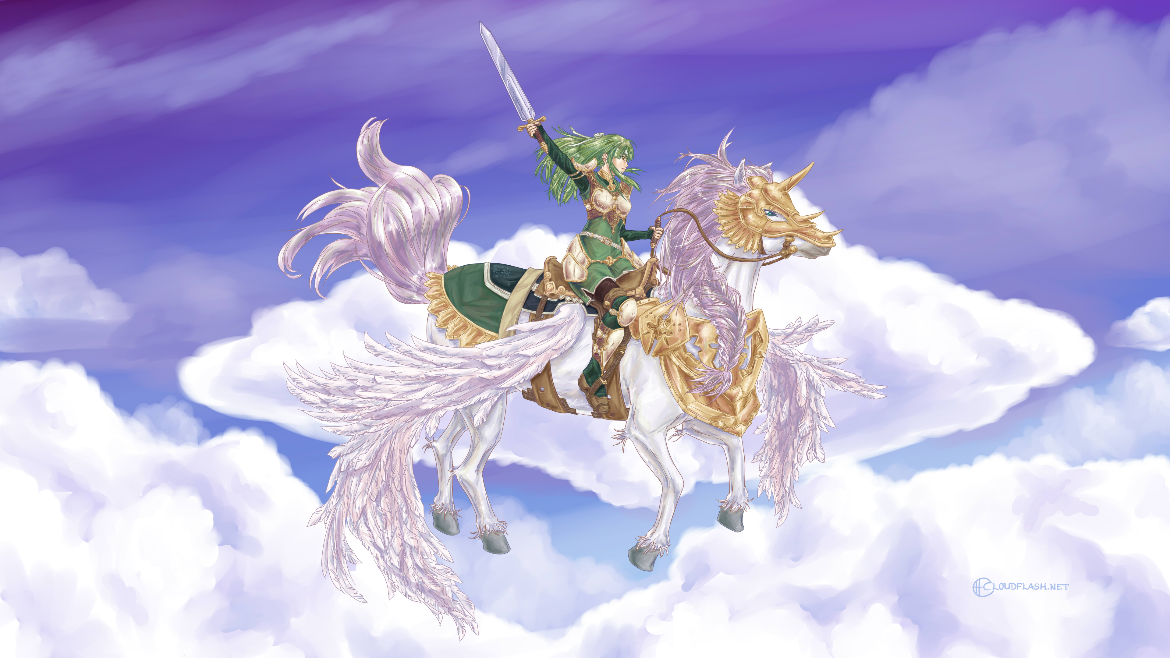 Palla riding a pegasus (character from Fire Emblem 15: Shadows of Valentia, also known as one of the three Pegasus Sisters) by Danny Poloskei