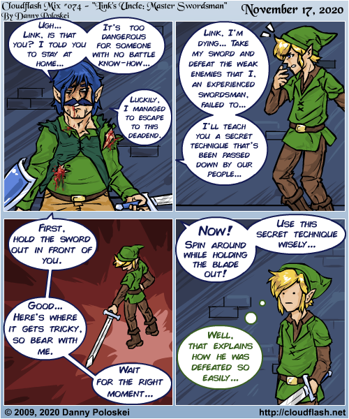 Link's Uncle is the most legendary swordsman in all of Hyrule! The man is a credit to us all! Comic originally from March 19, 2009, revised November 2020!